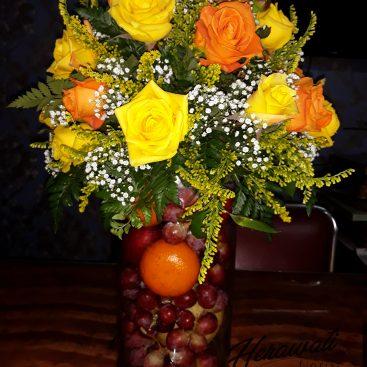 bunga lekas sembuh - Fruit in the glass vase/parcel buah 002